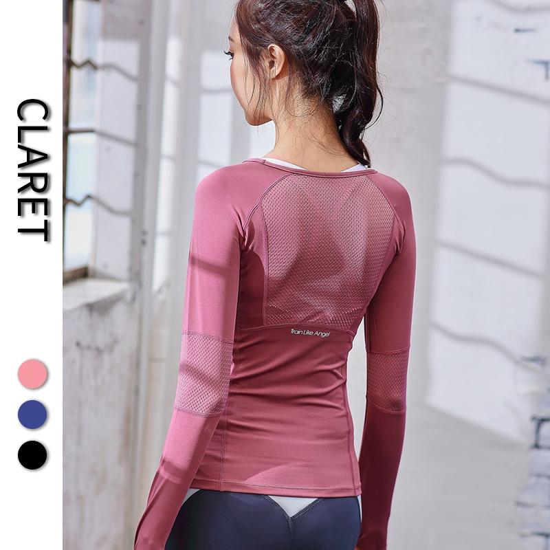 現貨 秋冬新健身服女長袖運動上衣跑步速干t恤緊身性感網紅瑜伽打底衫