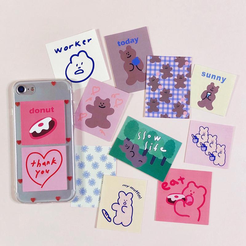 可愛小熊甜甜圈 雪人禮物 封口貼 韓風粉色复古貼紙包 手帳素材拼貼 DIY裝飾手機殼 筆電 收納盒 Musemood平替