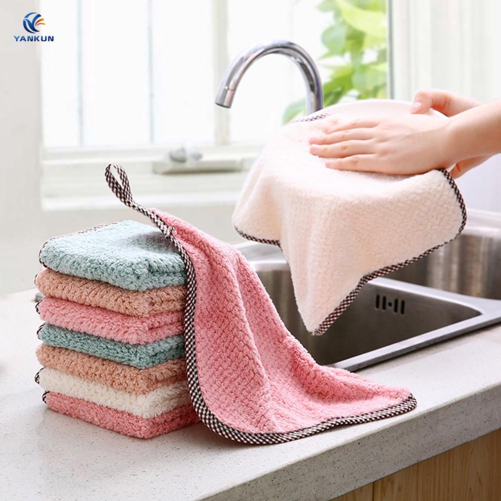 可懸掛的珊瑚絨雙面布廚房菠蘿圖案無絨吸水手巾普通毛巾