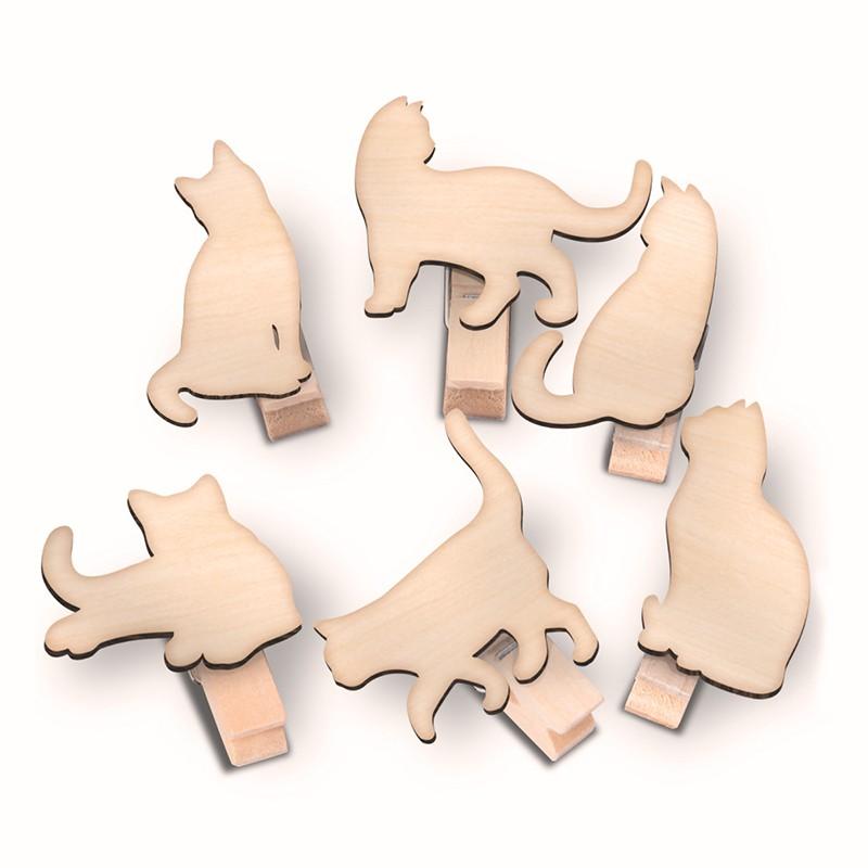慵懶貓咪木夾組 (六入一組)
