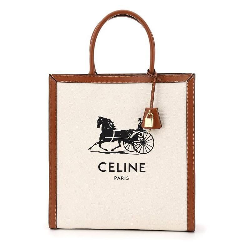 Celine 馬車印花帆布及小牛皮直式Cabas 托特包