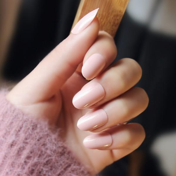 指甲貼片 NC171 高亮珠光裸粉超自然美甲貼片 內含淡金粉 假指甲 圓頭甲片【買1送5配件】