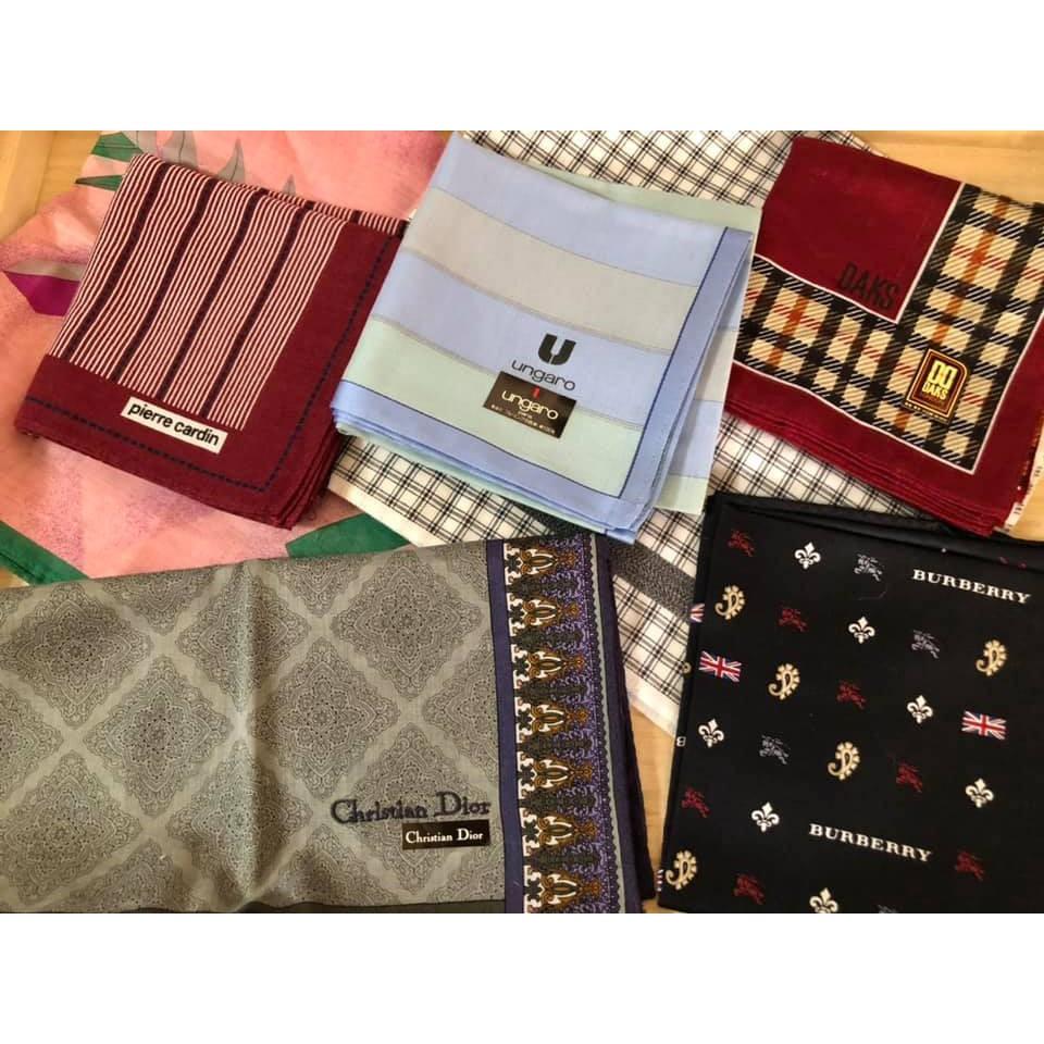 日本名牌手帕 DAKS/YSL /Christian Dior 綿100%日本製經典刺繡領巾/男性紳士頂級中性手帕