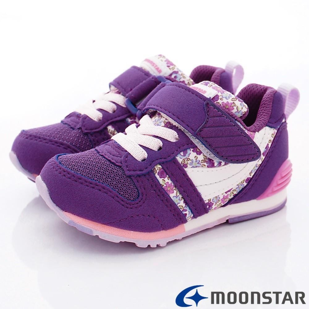 日本月星Moonstar機能童鞋 HI系列 十大機能鞋款 2121S6紫紅花(中小童段)