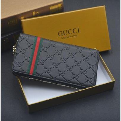 Gucci長夾 錢夾 短夾 手拿包 相片夾 Gucci皮夾 黑色 壓紋 真皮錢包 男用長夾 拉鏈夾