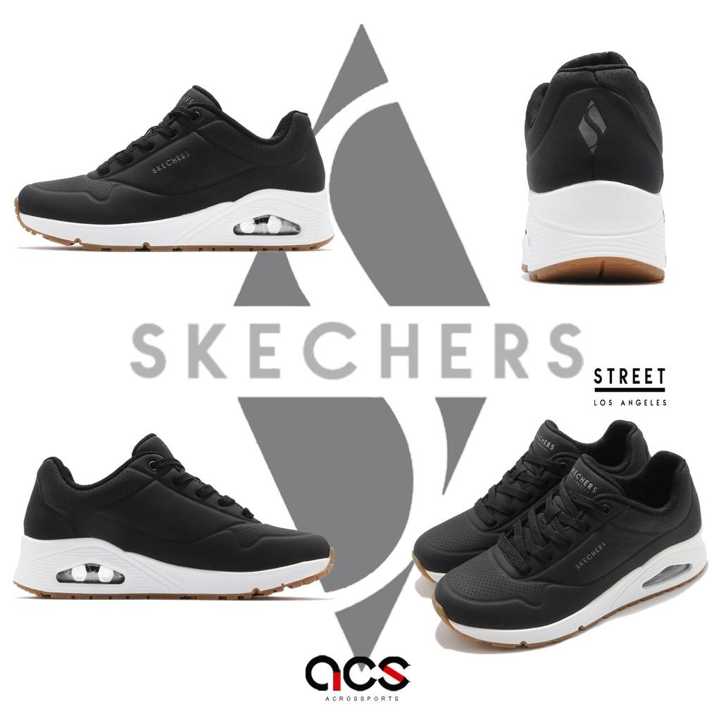 Skechers 休閒鞋 Uno 寬楦頭 女 黑 皮革 氣墊 厚底 上班 郊遊 運動鞋【ACS】 73690WBLK