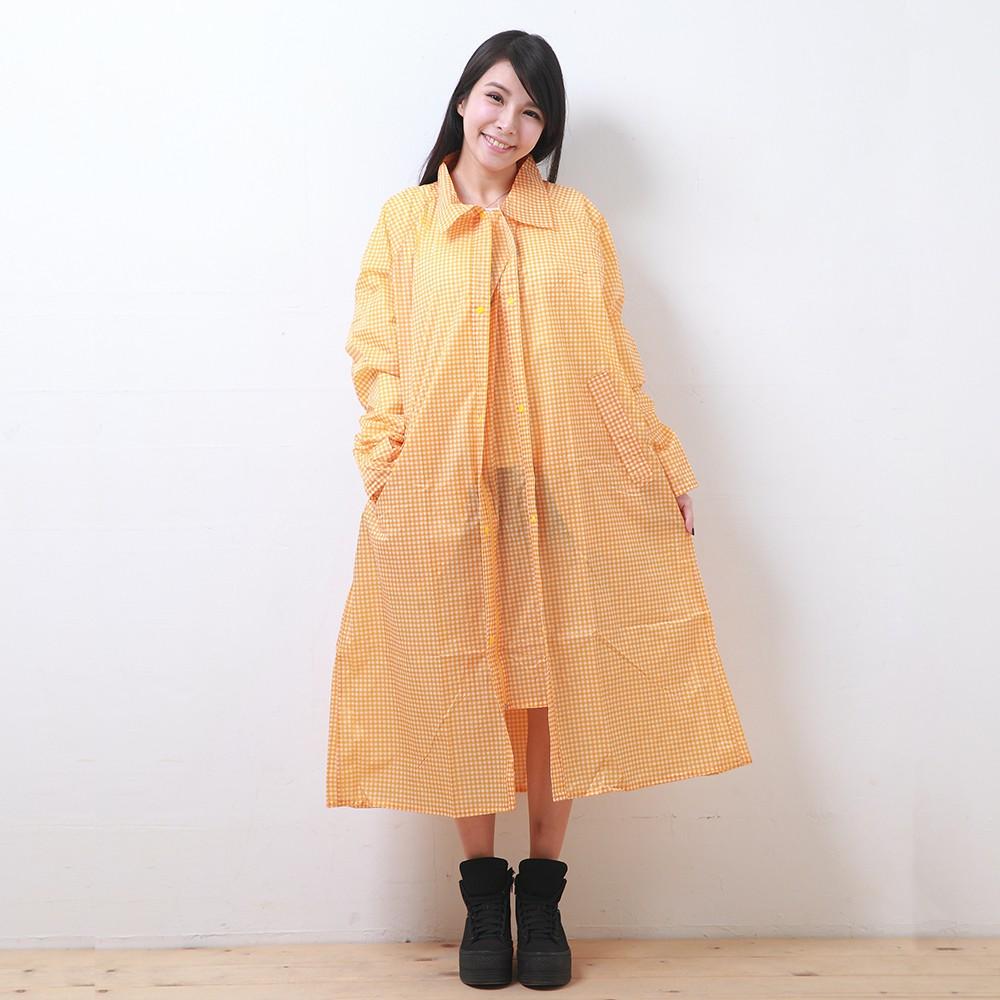 BrightDay印花前開連身式風雨衣-黃白格