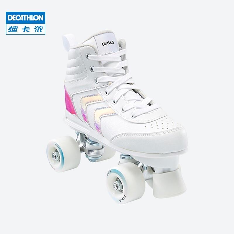 現貨 兒童溜冰鞋 兒童滑板鞋 兒童旱冰鞋 迪卡儂兒童成人女雙排溜冰鞋輪滑鞋旱冰鞋雙排輪OXELO-L
