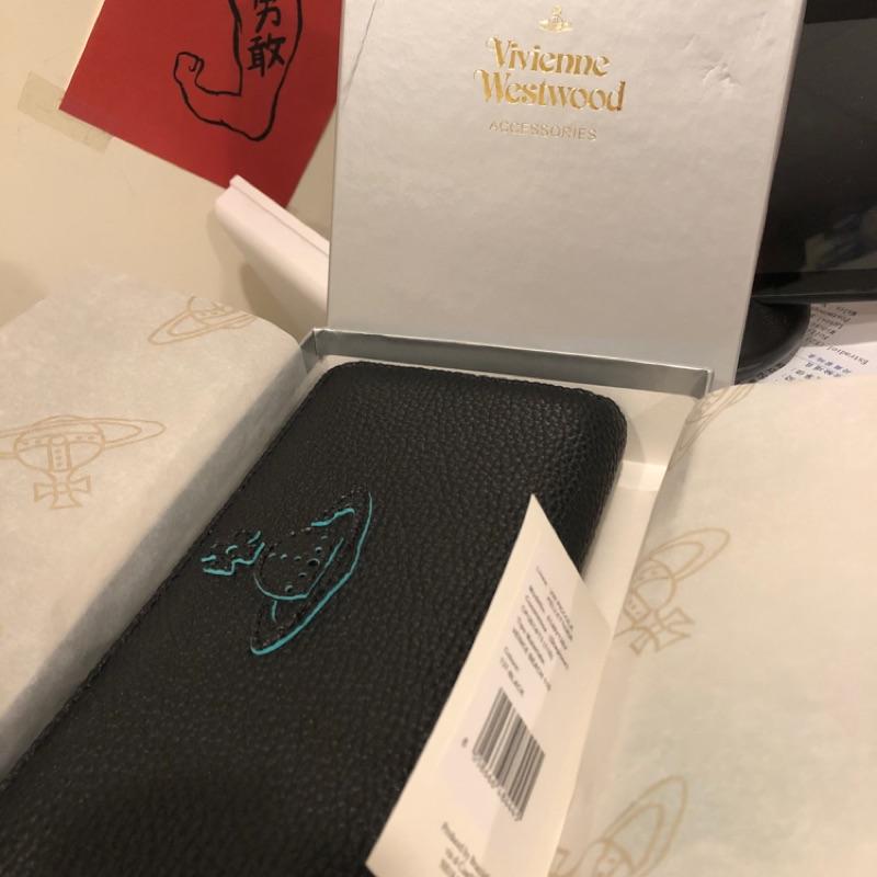 [全新 含運]Vivienne Westwood錢包 長夾 黑 薄荷綠 低調個性 特殊款 土星 VENICE BEACH