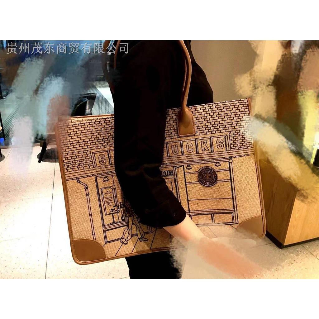 №星巴克星巴克車站手提袋活動 50 週年紀念限量袋麻布材料棕色大容量 Handba