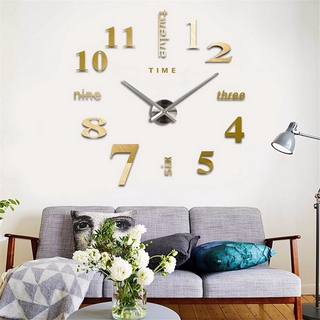 3d 掛鐘鏡子牆貼創意 Diy 掛鐘可移動藝術貼花貼紙家居裝飾客廳石英針用於禮品和手工藝品