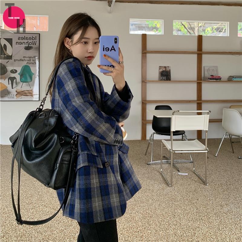 ♛潮流屋♛ 韓版修身女中長款大衣外套 毛呢大衣 針織外套 長版外套 風衣