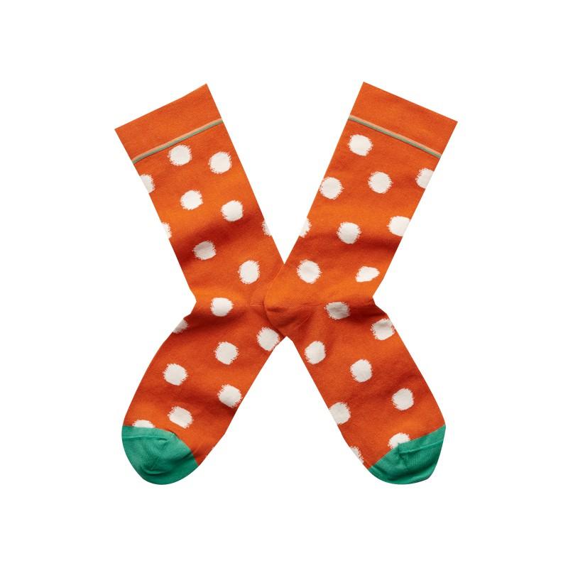 法國Bonne Maison Orange Polka Dot橘色圓點中統襪LY4-01