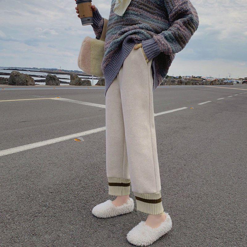 條紋針織拼接毛呢褲子女秋冬高腰阔腿九分寬鬆直筒復古奶奶裤萝卜