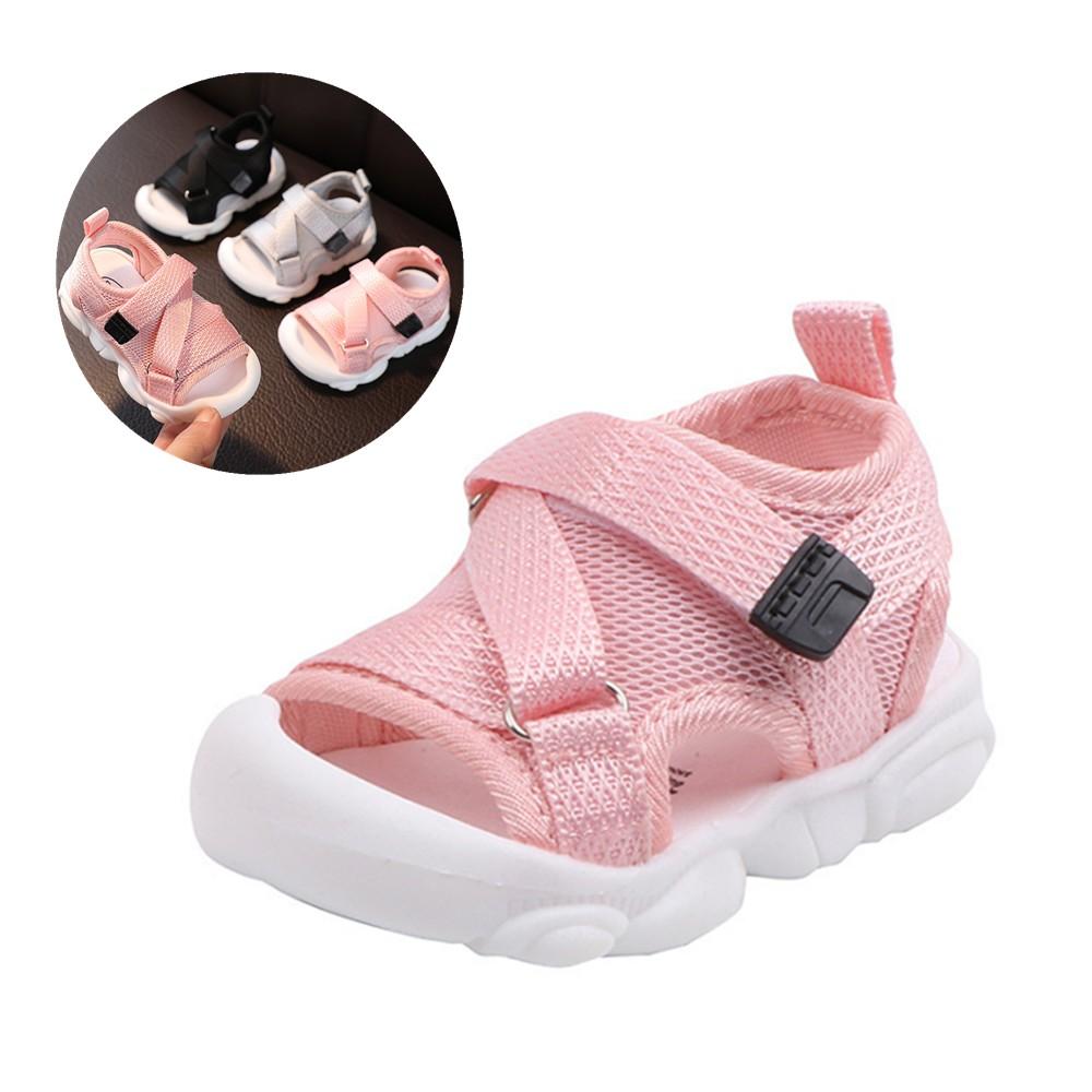兒童涼鞋 包頭防踢夏季新款男童涼鞋 女童涼鞋寶寶鞋子 秋季網布鞋