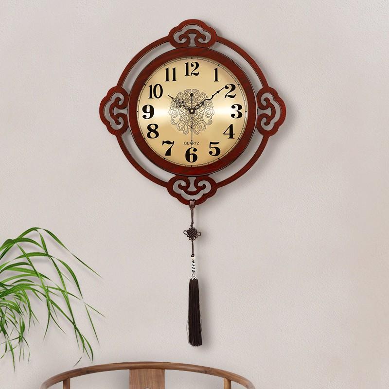 爆款 新中式客廳掛鐘靜音中國風掛表創意時尚時鐘個性裝飾家用石英鐘表