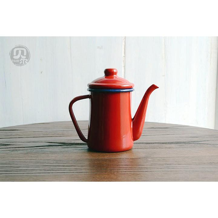 優選餐具 貝爾搪瓷、出口日本無印風0.6L搪瓷咖啡壺 琺瑯小油壺 花茶壺