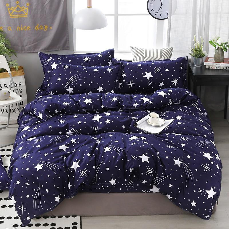 【現貨】床包四件組 雙人/加大雙人床包四件組 單人床包組 被罩被單組床單組薄被套枕頭套枕套被單4件組 深藍藏青色 滿天星