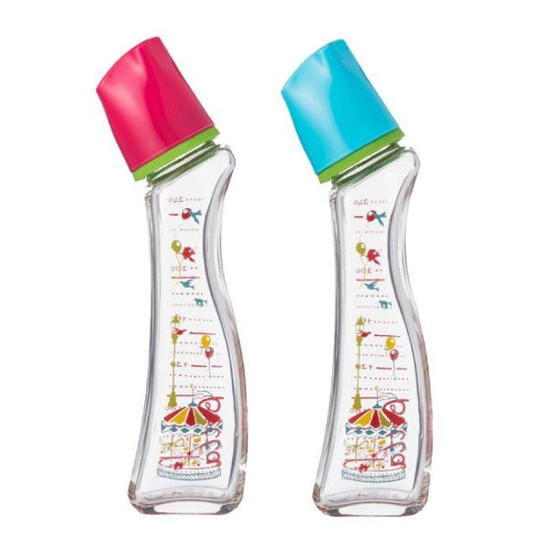 日本 Dr. Betta 玻璃防脹氣奶瓶 Brain G4-Carrousel(紅/藍) 240ml【總代理公司貨】【麗