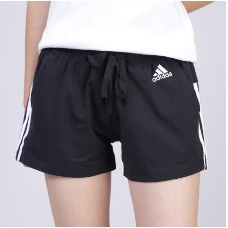 ADIDAS Essential 基本款 愛迪達 三線 三條線 棉 女 運動 短褲 黑白 BR5963