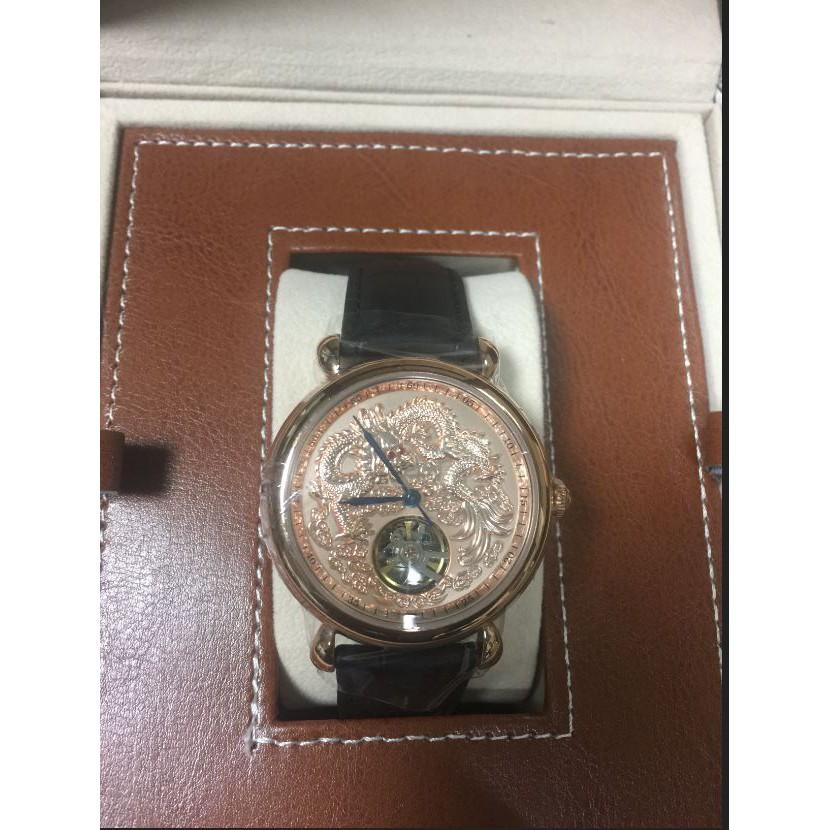 【MANLIKE曼莉萊克】龍行天下經典紅寶晶鑽腕錶 玫瑰金(機械錶)