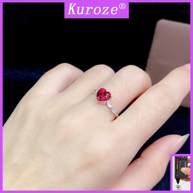 GRA時尚簡約玫紅色鑽石愛心戒指