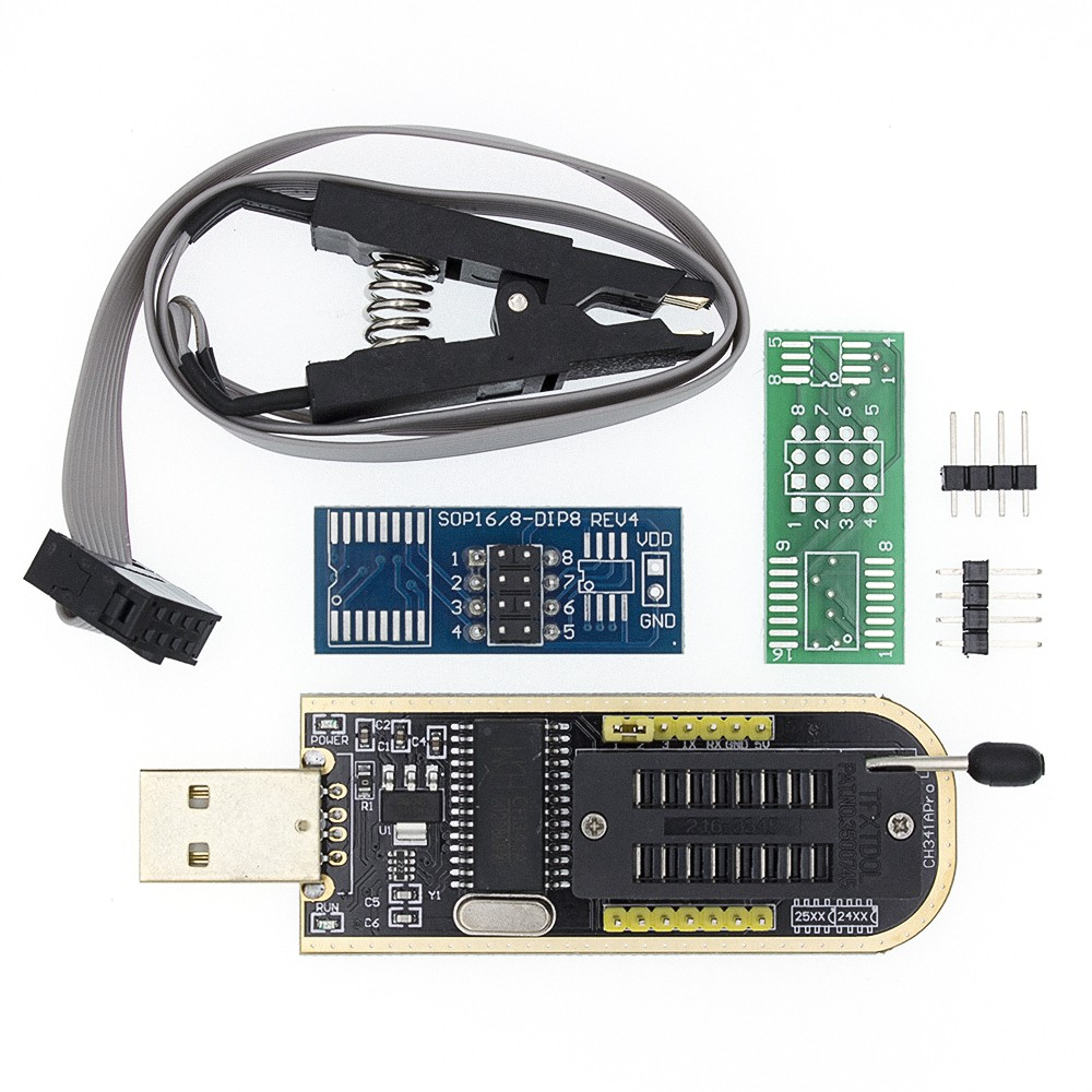 CH341 編程器 USB 燒錄器 + SOP8 測試夾 燒錄夾