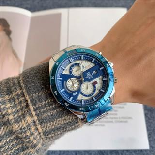 Casio卡西歐時尚男士手錶三眼計時手錶流行鋼帶石英商務精品表