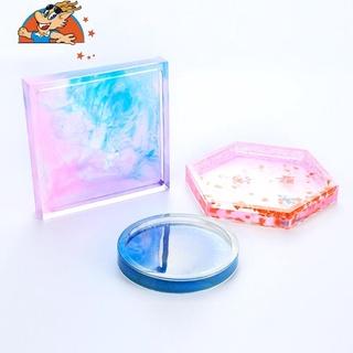 滿99元出貨小金龍 diy水晶滴膠模具不規則幾何杯墊手工製作鏡面擺臺矽膠模具