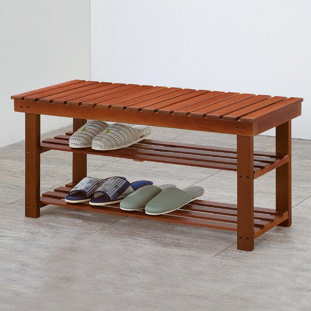 Boden-德溫2.6尺實木二層鞋架/穿鞋椅 DIY組裝