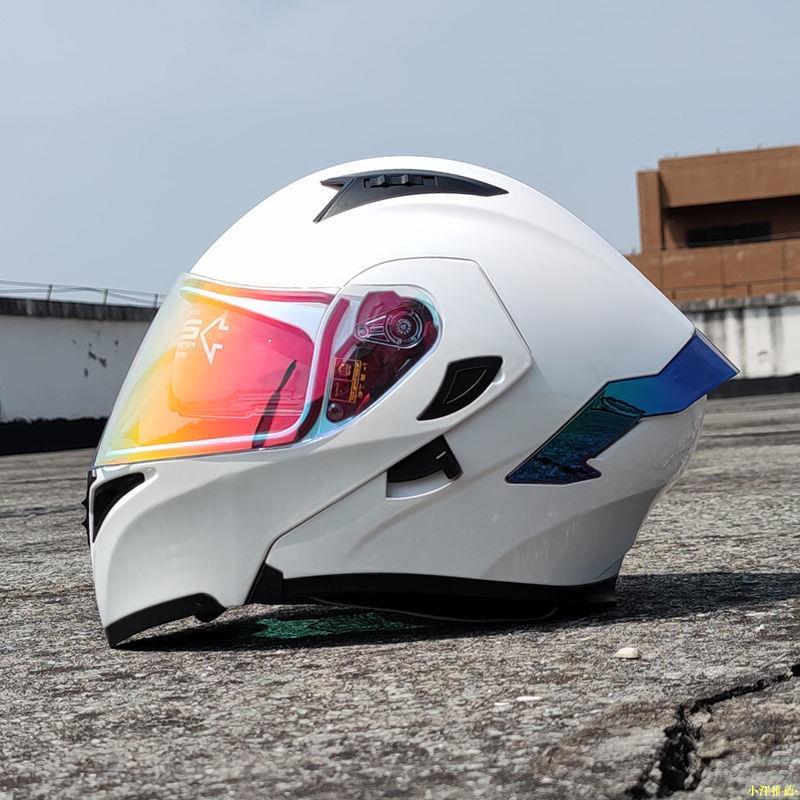 【機車安全帽】·Orz電動摩托車頭盔男女揭面盔夏雙鏡片尾翼半盔頭灰個性機車四季