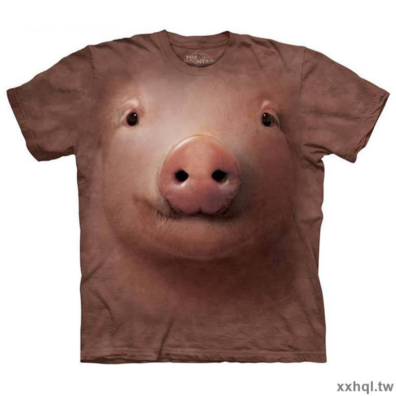 美國 THE MOUNTAIN 豬頭圖案大碼裝寬松3d衣服短袖男3dt恤