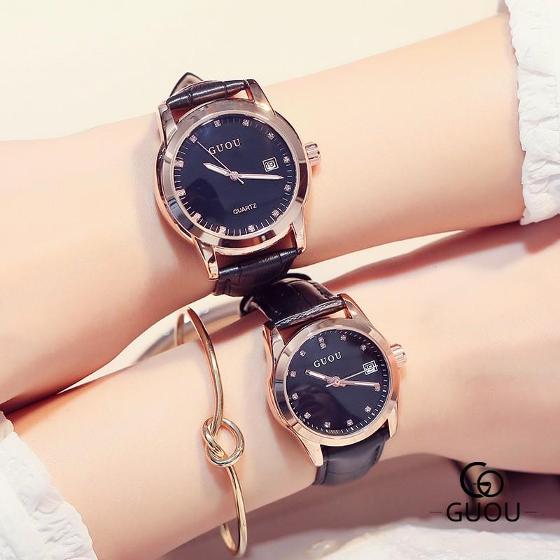 GZ 橙子新品簡約帶日歷表盤女款手表夜光指針水鉆手表情侶表