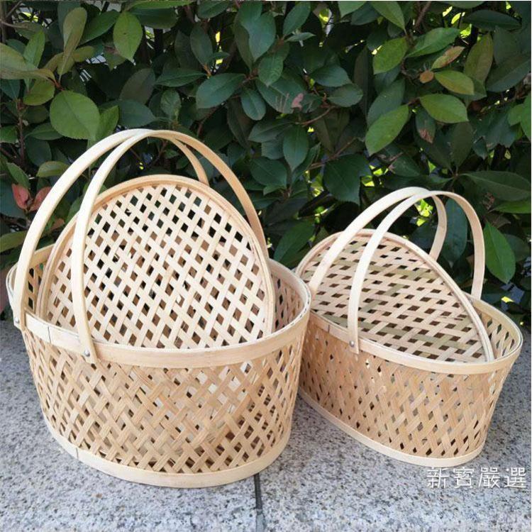 購物籃 收納籃土雞蛋籃帶蓋水果包裝籃竹製鏤空小竹籃禮品籃【麻吉部落】