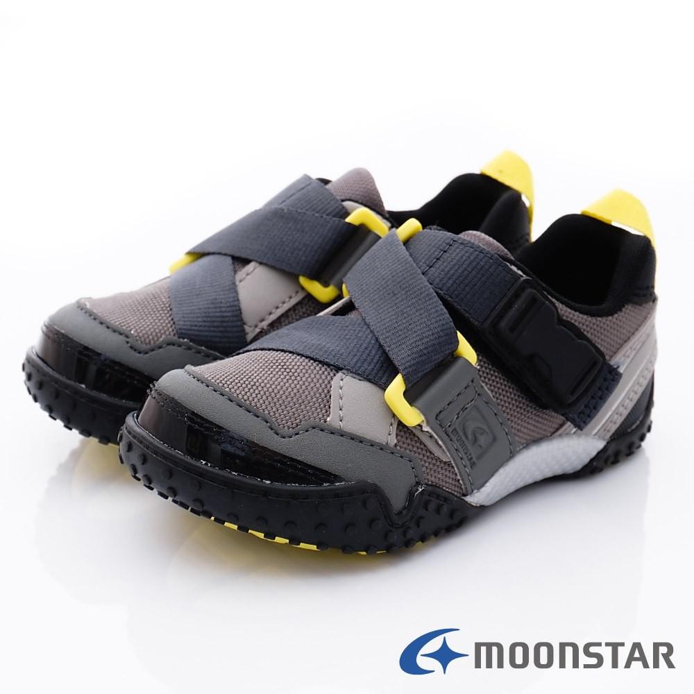 日本月星Moonstar機能童鞋 Carrot系列 腳踏車鞋款 22158灰(中小童段)