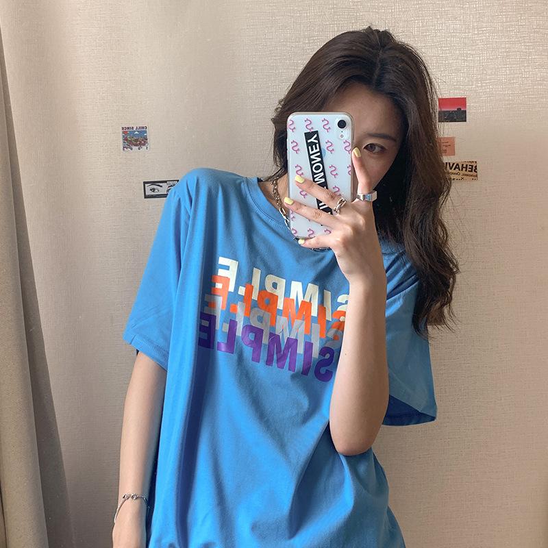 2020夏季新款韓版字母印花短袖t恤女學生寬鬆顯瘦百搭打底衫上衣