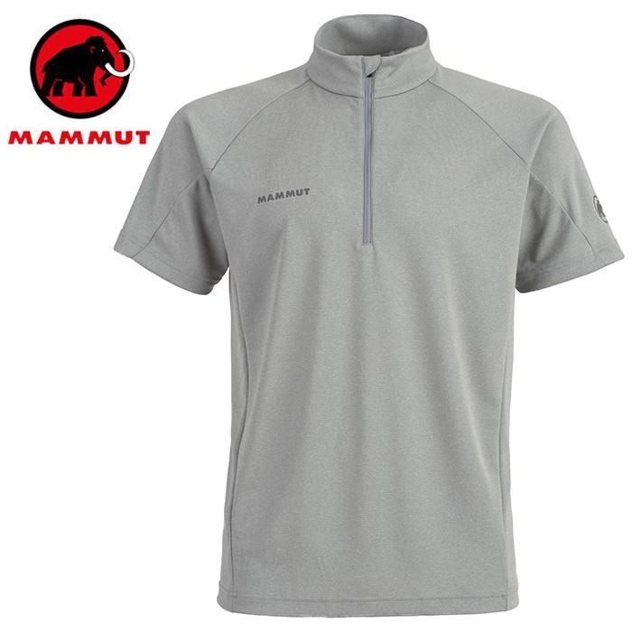 【Mammut 長毛象 瑞士】Aegility 立領短袖排汗衣 運動上衣 男款 花崗岩灰 (01750-0819)