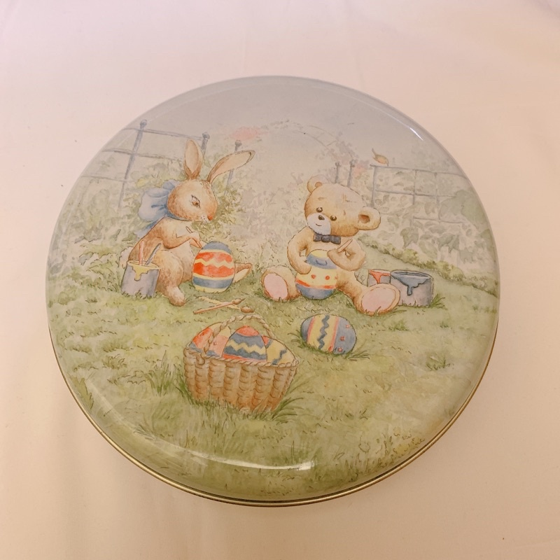 香港 珍妮小熊曲奇餅乾 鐵盒 空盒 聰明小熊
