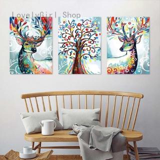 禮物新夢想森林現代家居牆體藝術裝飾麋鹿藝術漆在畫布上的手繪油畫