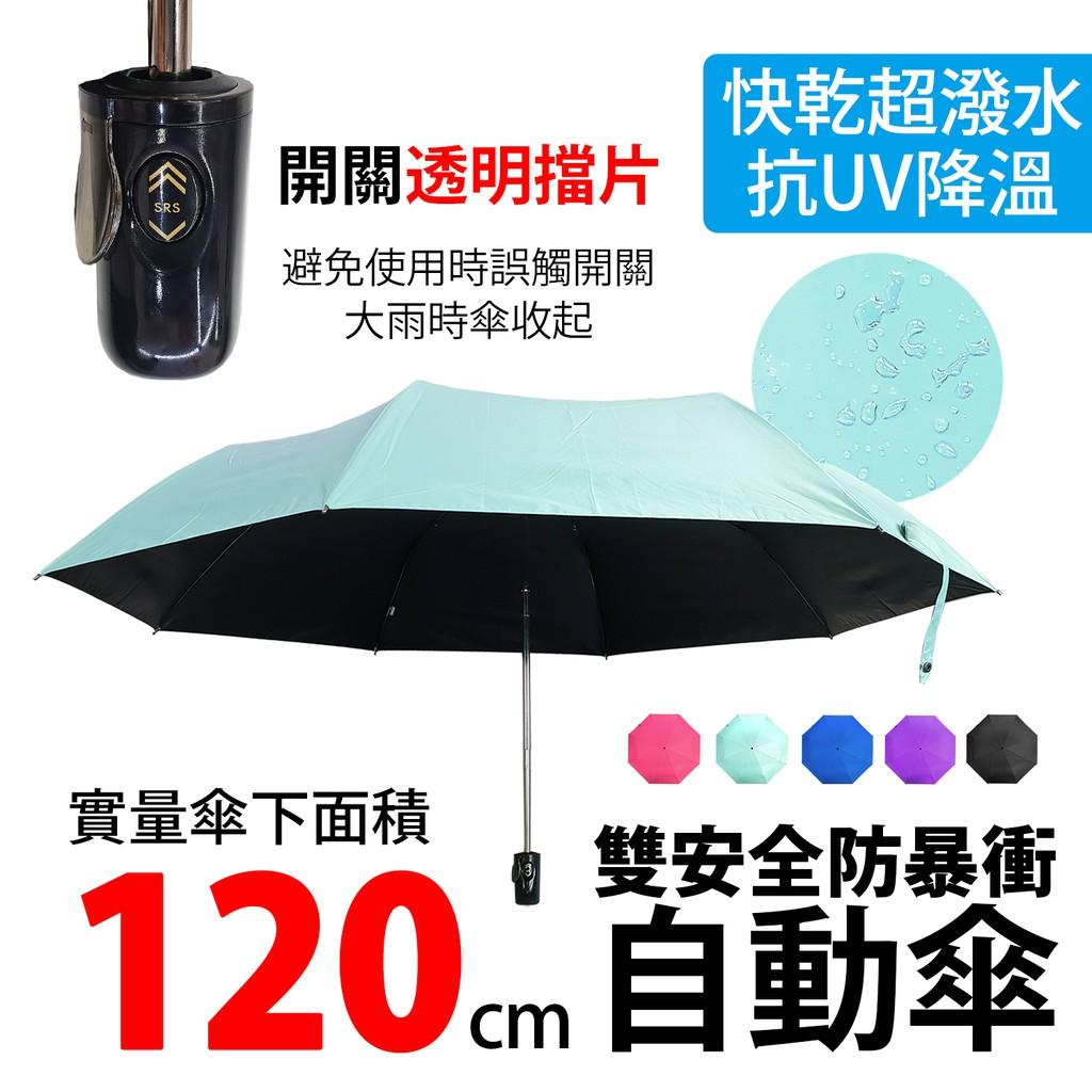 70×8 安全防暴衝黑膠大傘 防收機制透明檔片 大傘面 黑膠布抗UV 自動傘