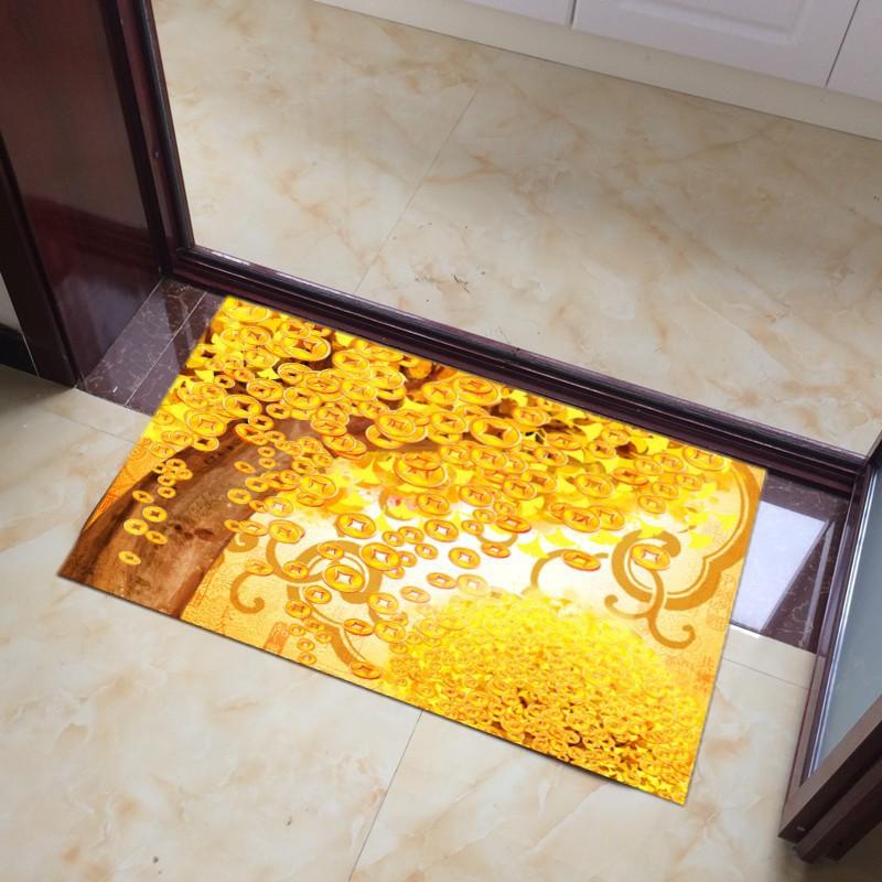 ❇►★結婚地毯★定制金黃色地毯結婚喜慶地墊臥室客戶家居風水招財金色入戶門墊