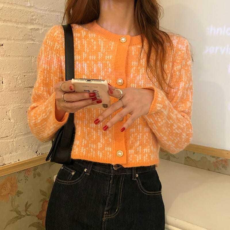 【現貨✮速發】新款韓版Chic小香風短款上衣女裝百搭長袖針織衫毛衣外套