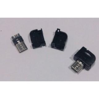 ►382◄MICRO 90度USB插頭 焊線式 三件式 USB公頭 帶外殼 充電器電源改裝必備件