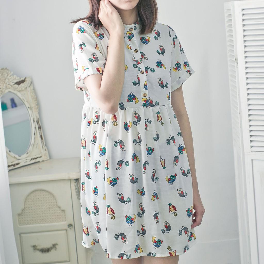 清倉-小鳥印花洋裝