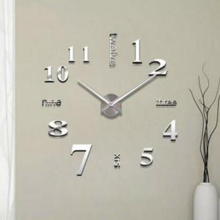 3d 掛鐘鏡子牆貼創意 Diy 牆石英針鐘可移動藝術貼花貼紙家居裝飾客廳