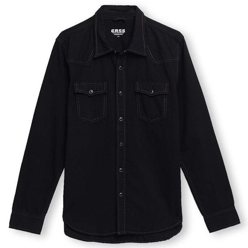 【ERSS】經典牛仔長袖襯衫 - 男 黑色 K30011