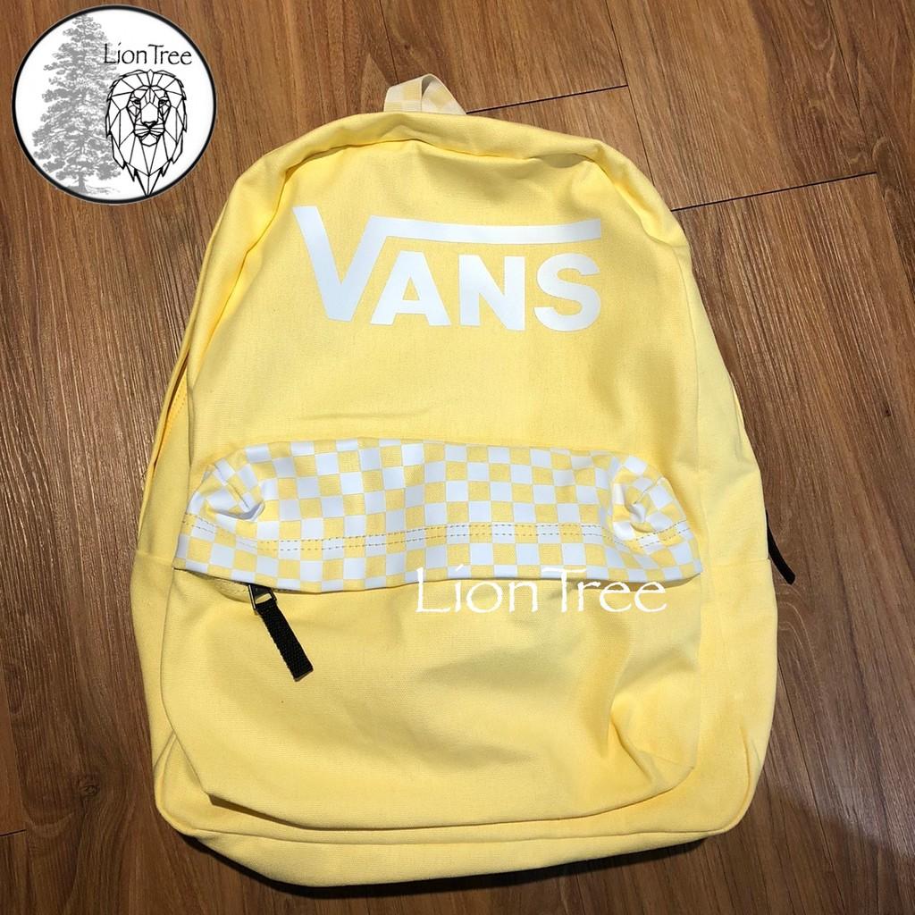 【LionTree】VANS 棋盤格 後背包 黃 LOGO 背包 滑板 黃色 基本款 貼布 書包 格子 HW624641