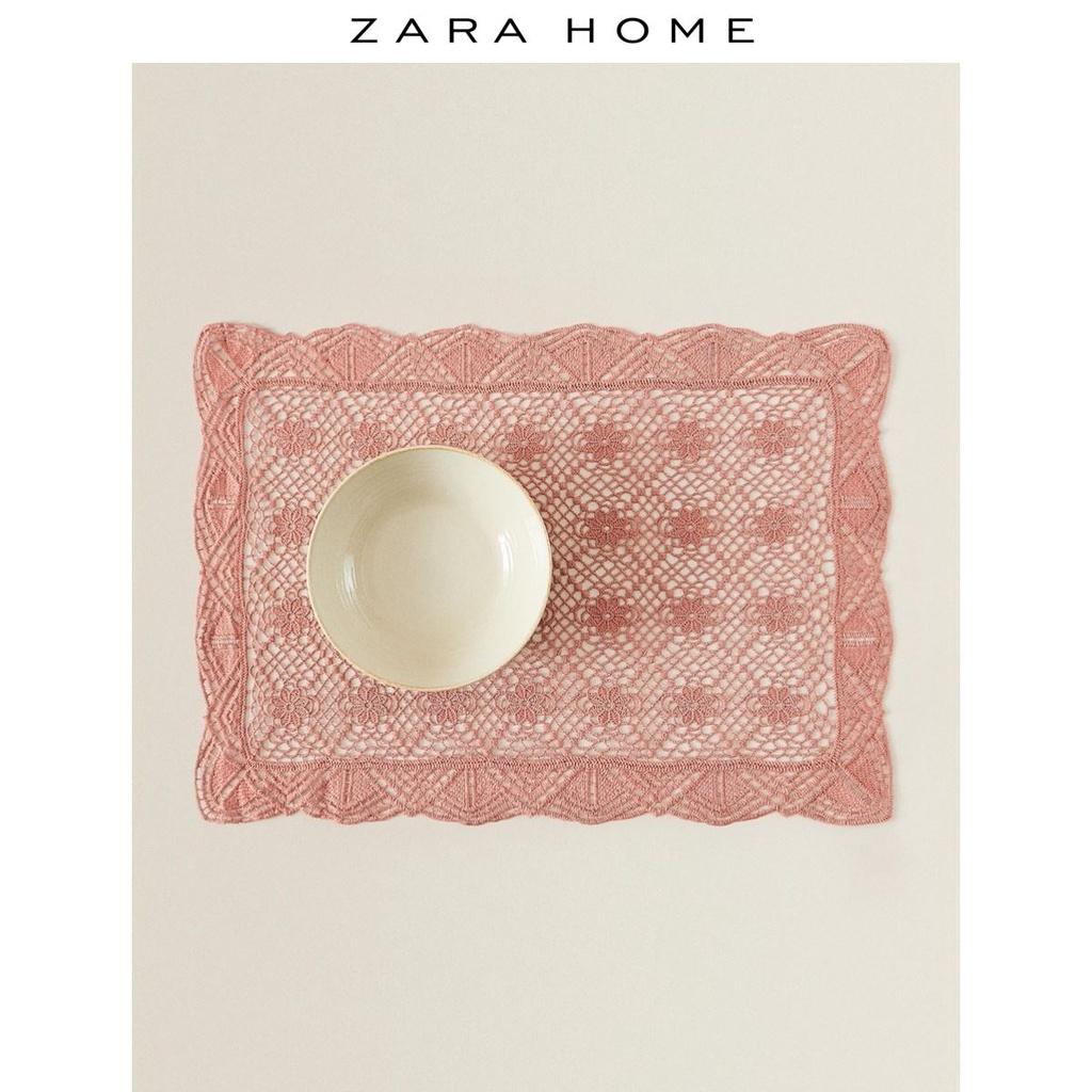 餐桌布 現貨 免運 簡約風Zara Home矩形淡紅色餐桌家用西餐蕾絲花邊餐墊布48262023637
