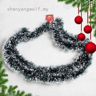 Shenyangwolf 200cm 彩色酒吧上衣絲帶花環白色深綠色藤條金屬絲派對聖誕樹裝飾品