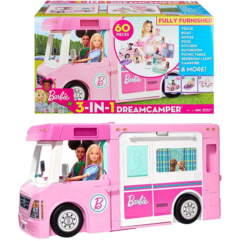 芭比之多功能豪華露營露營車旅行出遊三合一過家家玩具DreamCamper